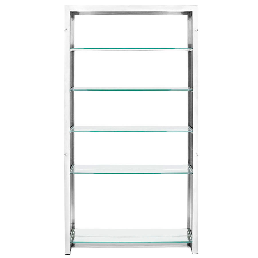 Galvano Modern Stainless Steel Book Shelf - Front View