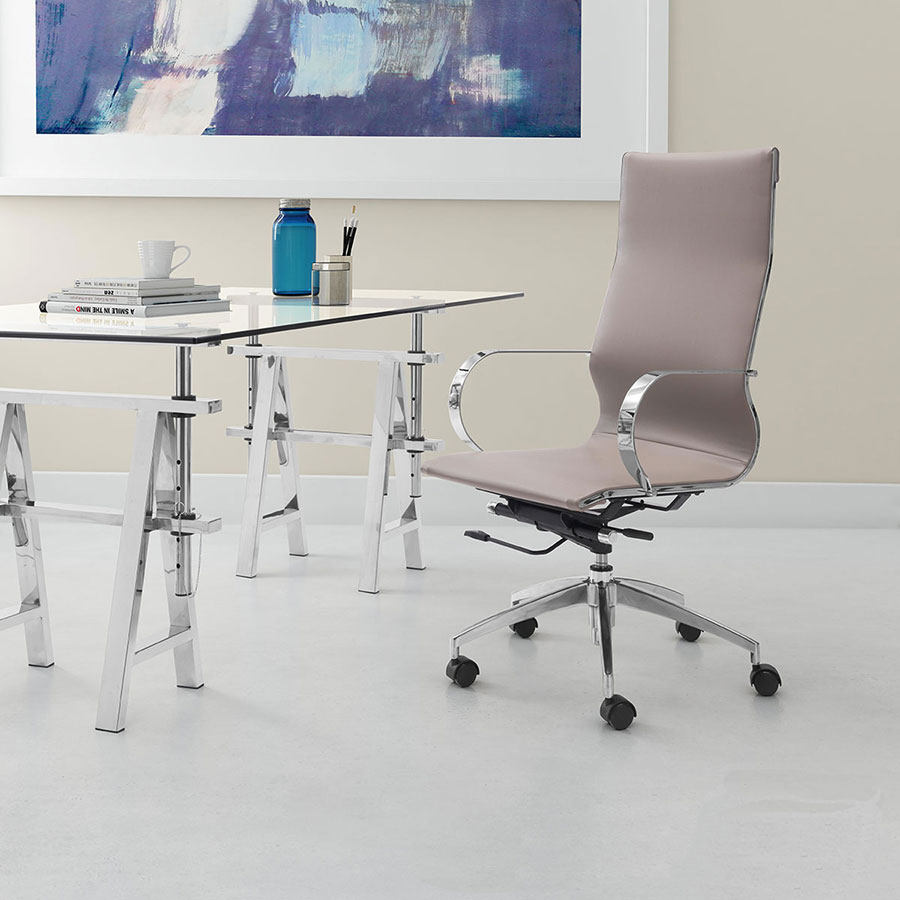 Gamila Taupe Leatherette + Chrome Modern High Back Office Chair