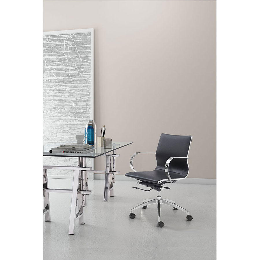 Gamila Black Leatherette + Chrome Modern Low Back Office Chair
