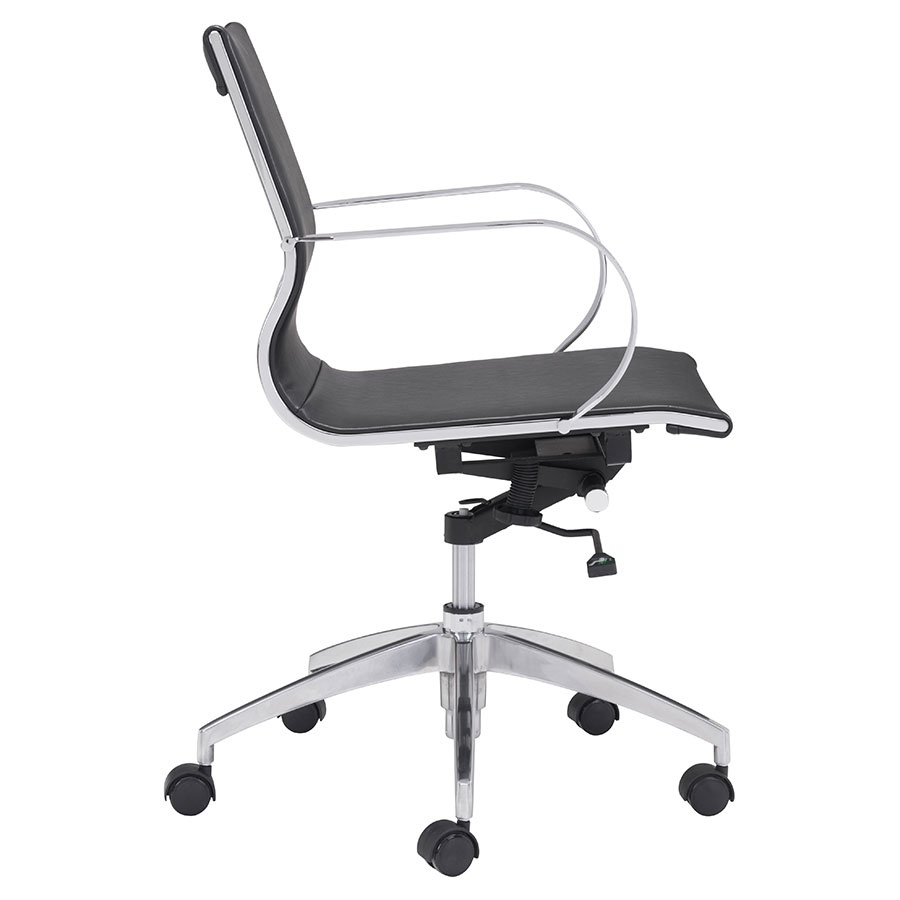 Gamila Black Leatherette Modern Low Back Office Chair