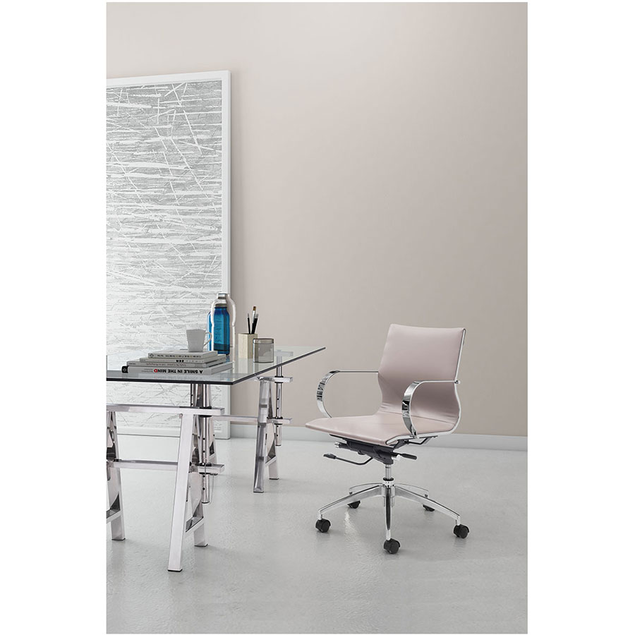 Gamila Taupe Leatherette + Brushed Steel Modern Low Back Office Chair