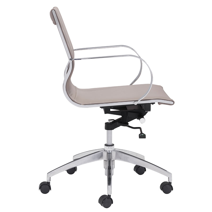Gamila Taupe Leatherette Modern Low Back Office Chair