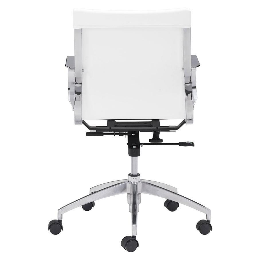 Gamila White Leatherette Contemporary Low Back Office Chair