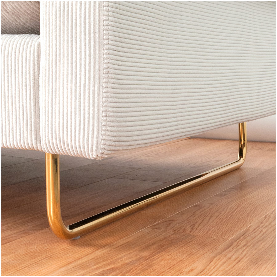 Garrison Modern Sofa with Brass Sleigh Base