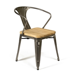 Gazelle Industrial Rustic Modern Gun Metal Arm Chair
