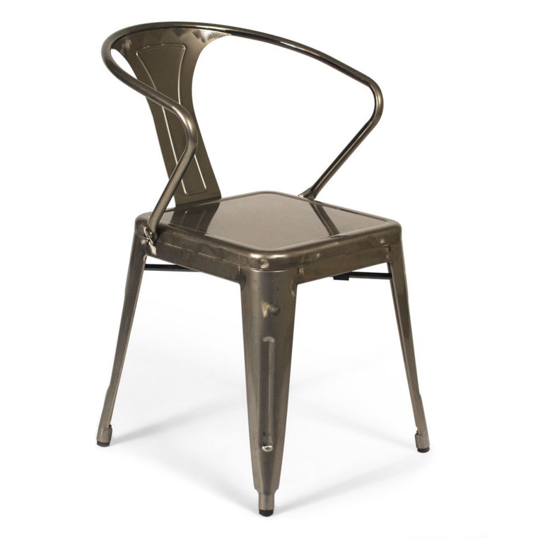 Gazelle Industrial Modern Gun Metal Arm Chair