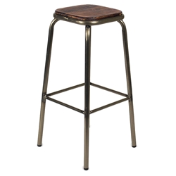 Gentry Modern Gun Metal + Distressed Pine Bar Stool