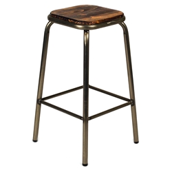 Gentry Modern Gun Metal + Distressed Pine Counter Stool