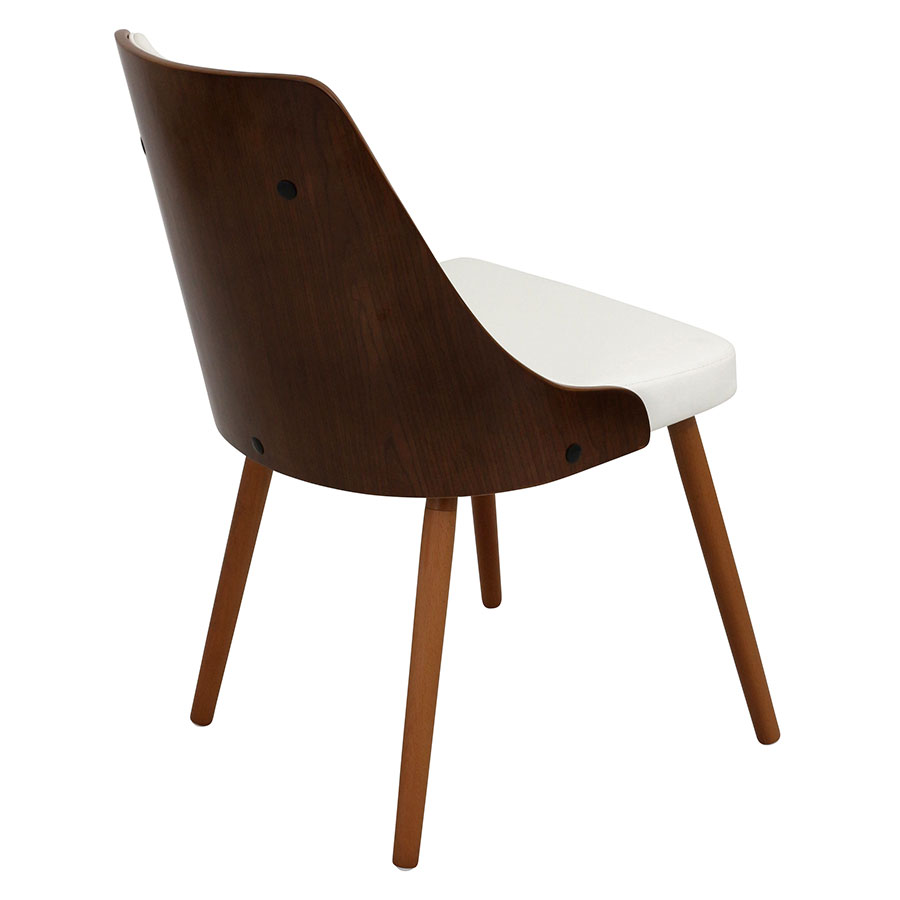 Gigi White + Walnut Contemporary Side Chair