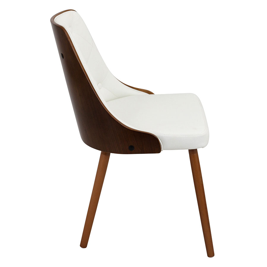 Gigi White + Walnut Modern Side Chair