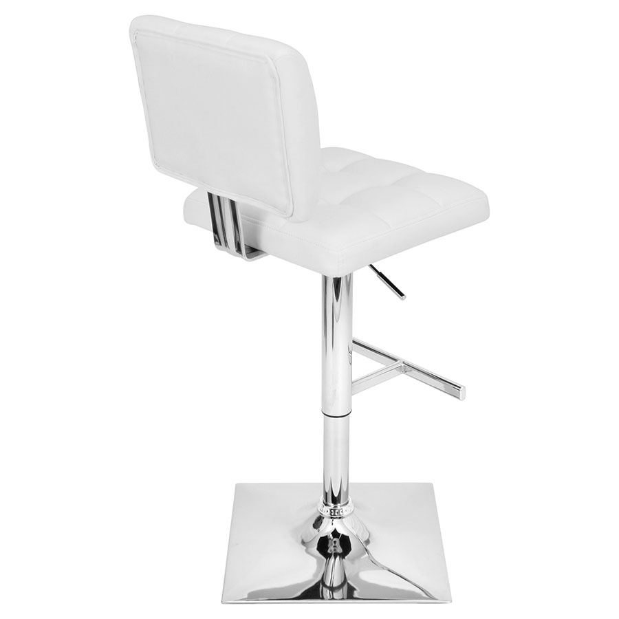 Giselle White + Chrome Contemporary Adjustable Stool