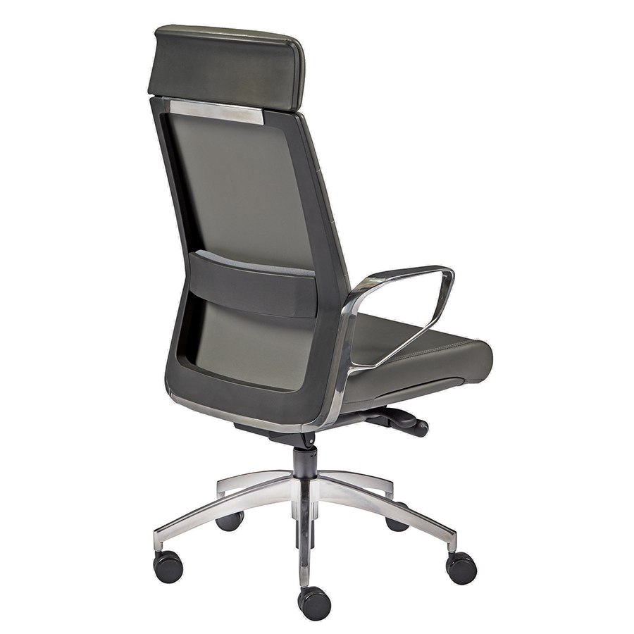 Gotan Gray Leatherette + Polished Metal Modern Executive Office Chair
