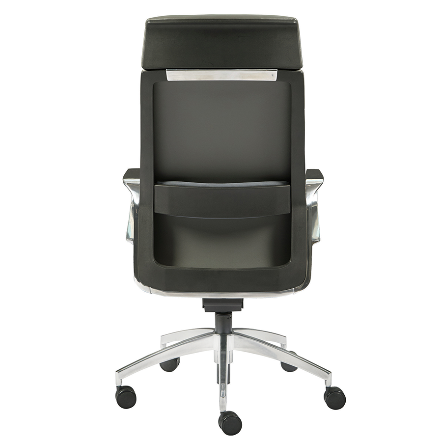 Gotan Gray Leatherette + Polished Metal Contemporary Executive Office Chair