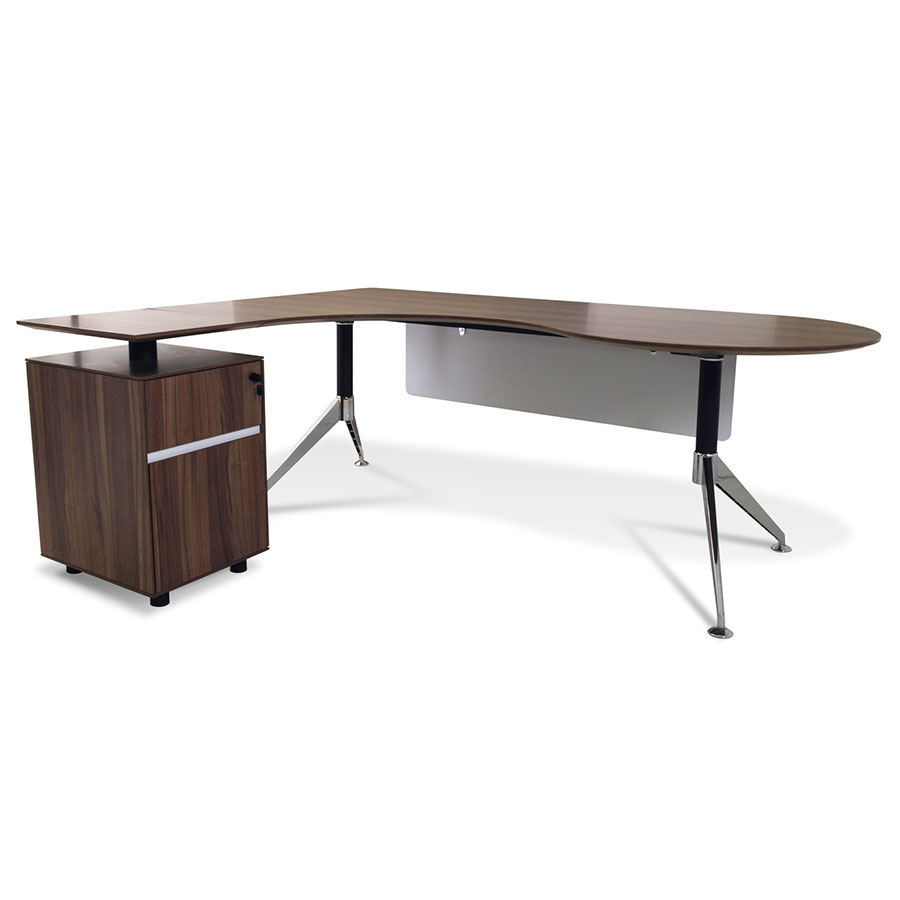 Gothenburg Contemporary Left Return Walnut Desk Set