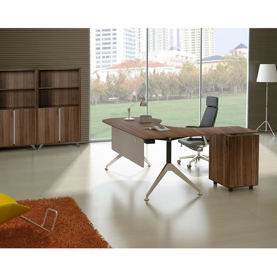Gothenburg Contempoary Left Return Walnut Desk