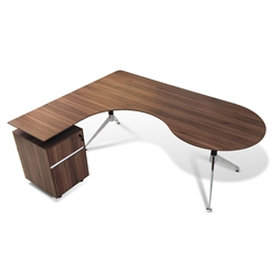 Gothenburg Modern Left Return Walnut Desk Set