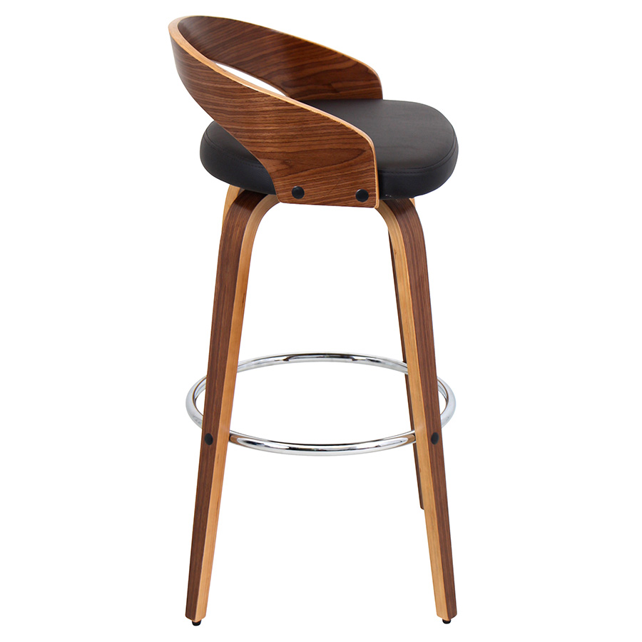 Grove Modern Walnut and Brown Bar Stool - Side View