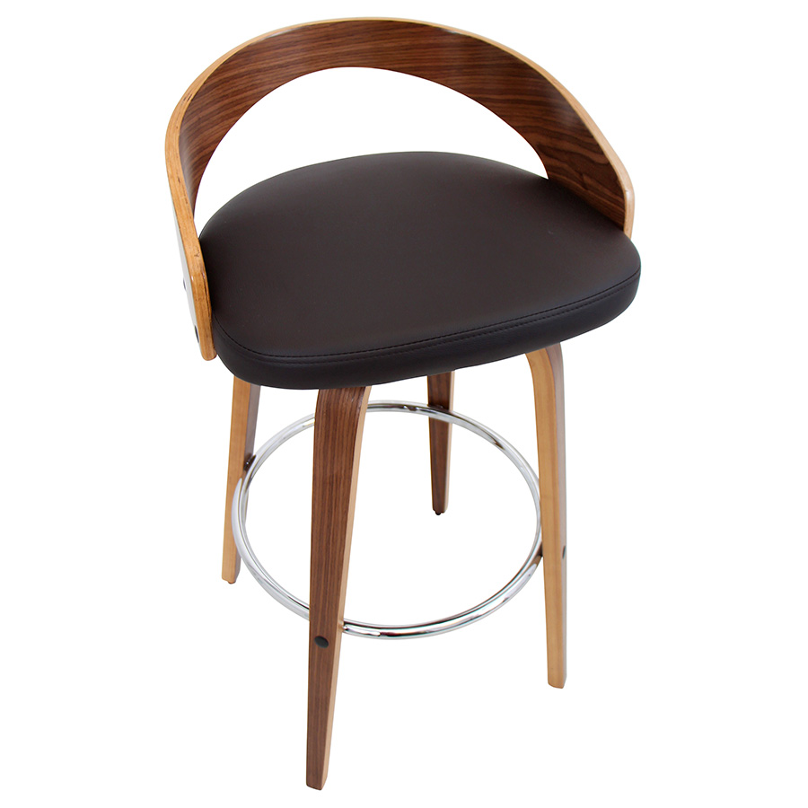 Grove Modern Walnut Bar Stool - Top View