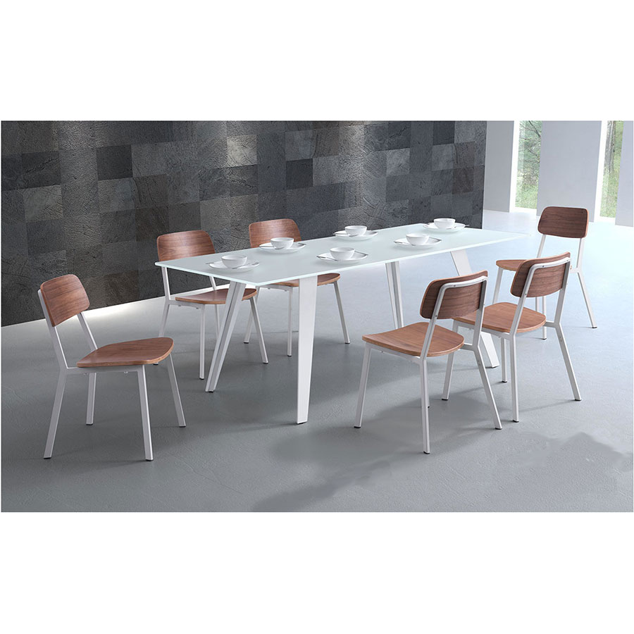 Hagen White Glass + Powder Coated Metal Modern Dining Table