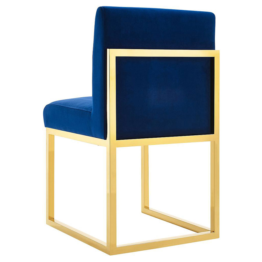 Hague Modern Blue Velvet and Gold Dining Chair