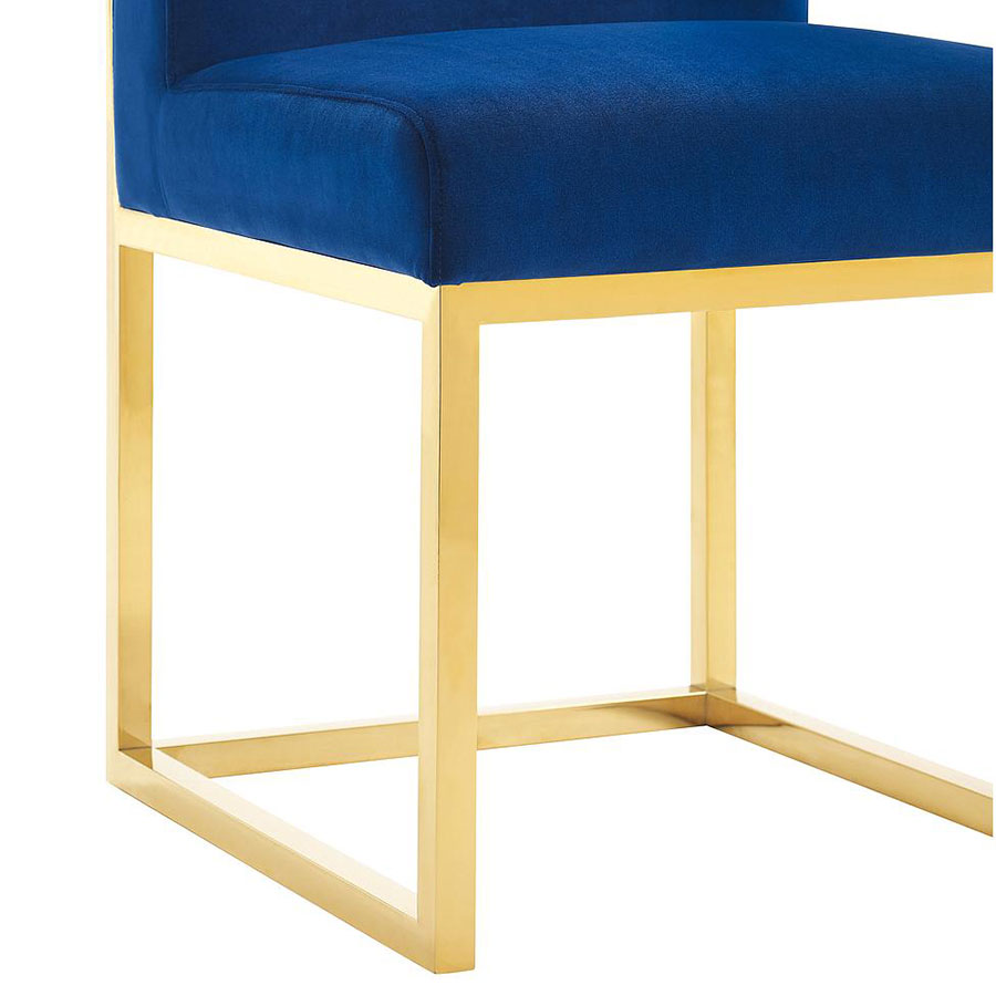 Hague Modern Blue Velvet Chair - Gold Base Detail