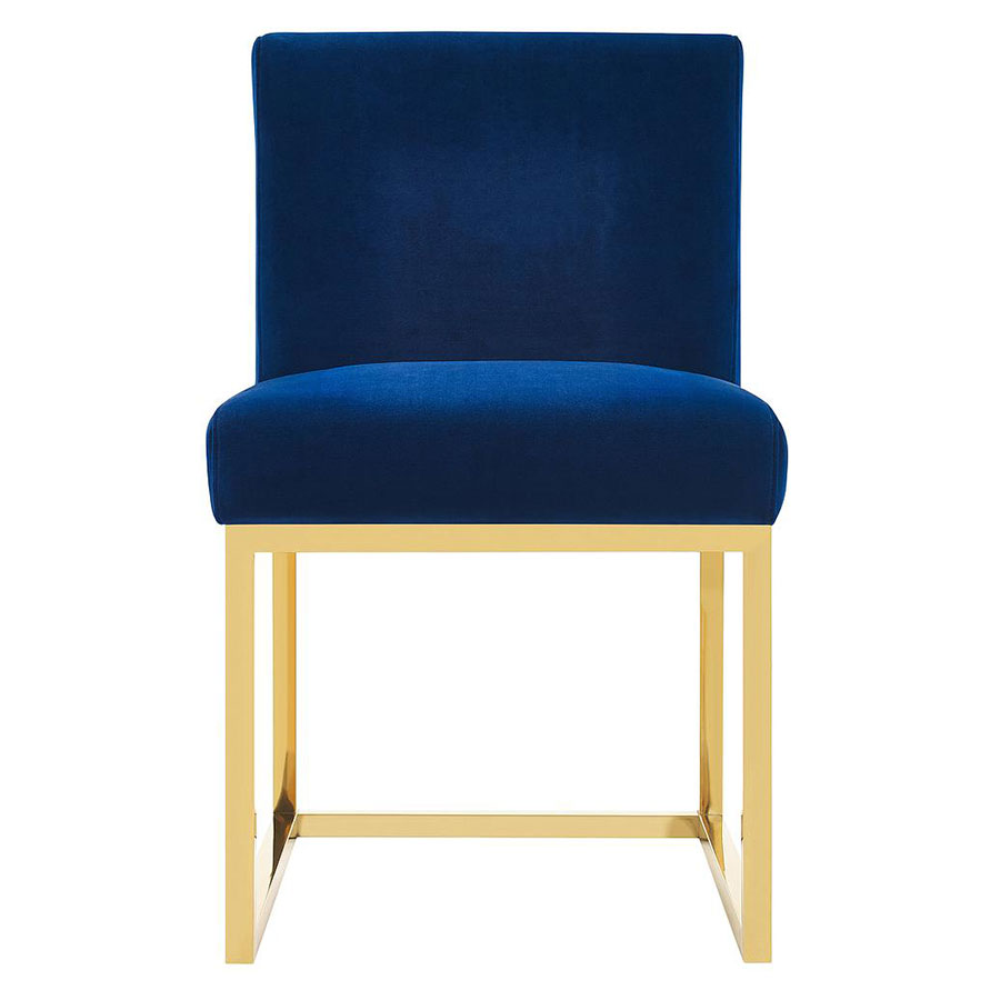 Hague Modern Blue Velvet + Gold Dining Chair