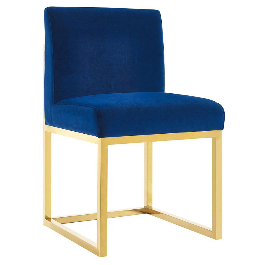 Hague Modern Blue Velvet + Gold Side Chair