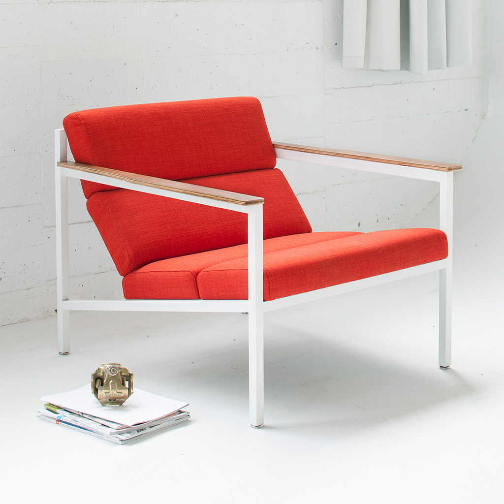 Halifax Contemporary Lounge Chair in Laurentian Sunset - Lifestyle