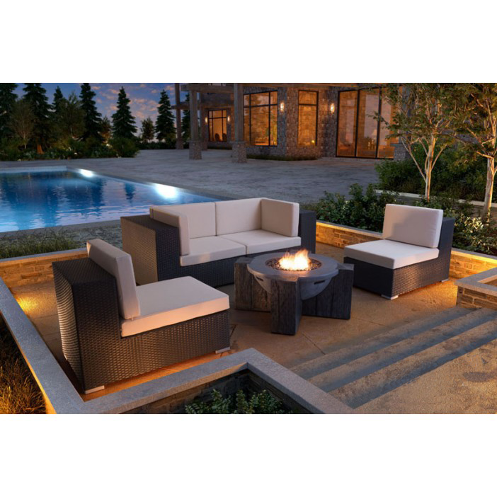 Hardy Gray + Raw Wood Contemporary Outdoor Fire Pit