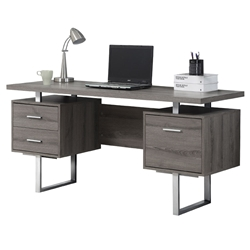 Harley Modern Dark Taupe Desk with Storage Pedestals