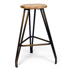 Hart Copper + Reclaimed Wood Contemporary Bar Stool