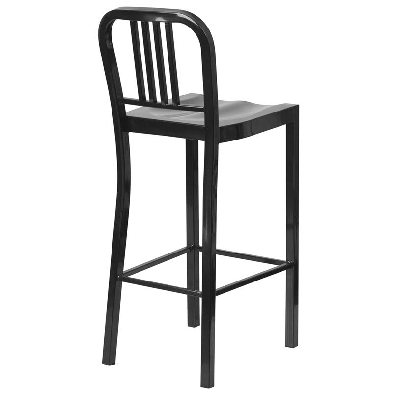 Hartford Black Modern Outdoor Bar Stool - Back View