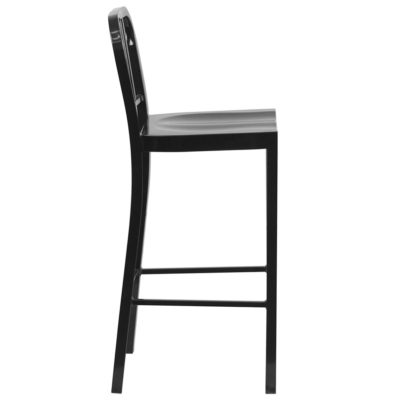 Hartford Black Modern Outdoor Bar Stool - Side View