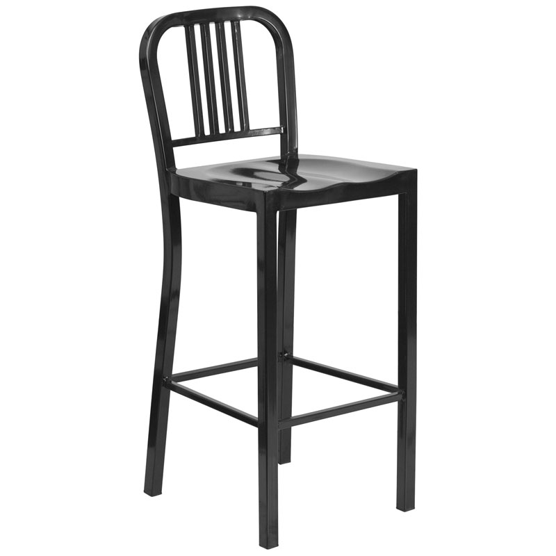Hartford Black Modern Outdoor Bar Stool