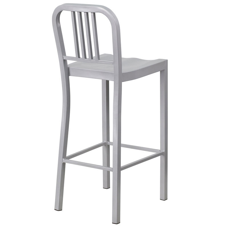 Hartford Silver Modern Outdoor Bar Stool - Back View