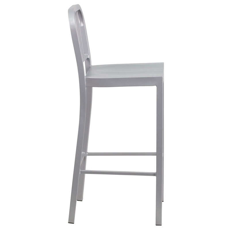 Hartford Silver Modern Outdoor Bar Stool - Side View