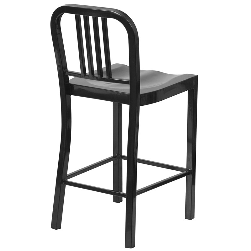 Hartford Black Modern Outdoor Counter Stool - Back View