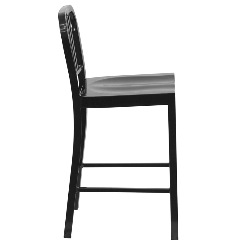 Hartford Black Modern Outdoor Counter Stool - Side View