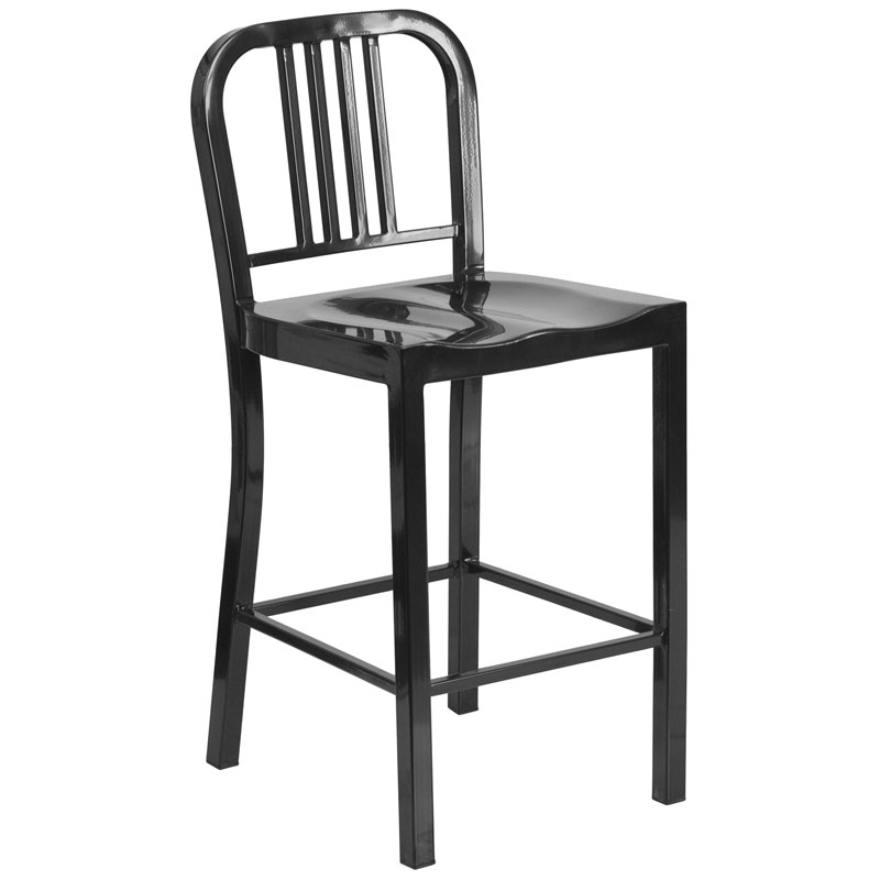 Hartford Black Modern Outdoor Counter Stool