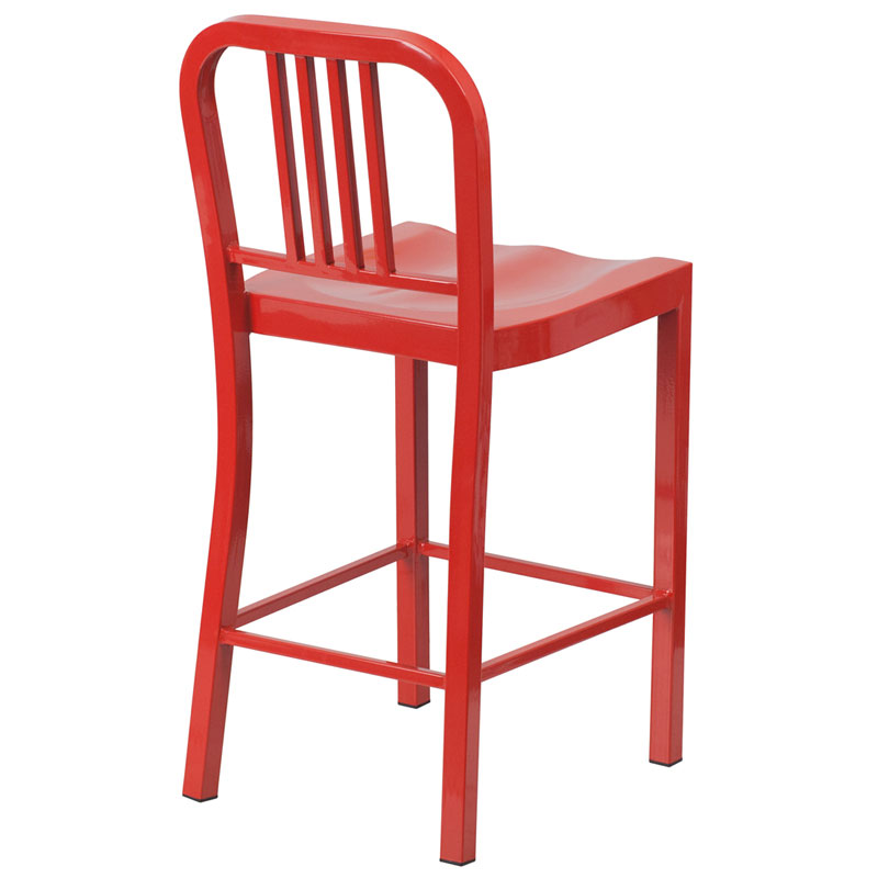 Hartford Red Modern Outdoor Counter Stool - Back View