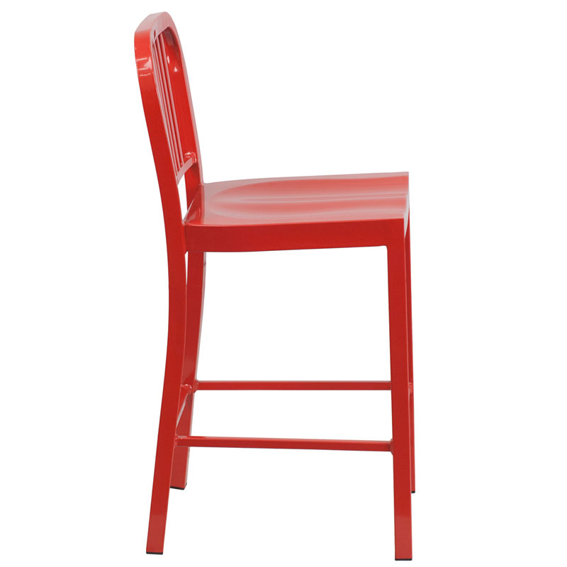 Hartford Red Modern Outdoor Counter Stool - Side View
