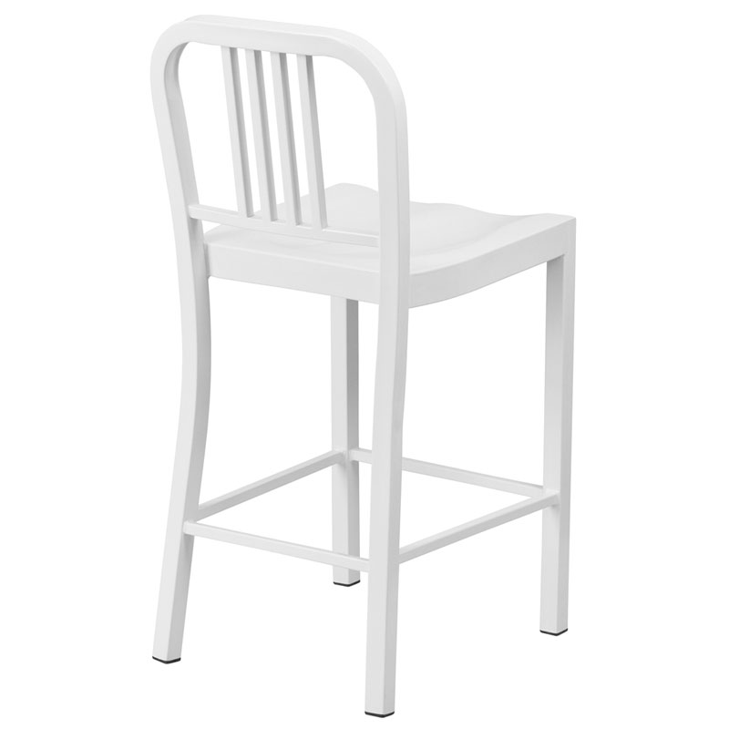 Hartford White Modern Outdoor Counter Stool - Back View