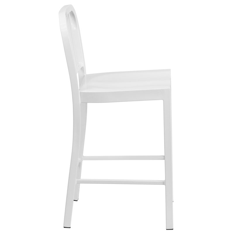 Hartford White Modern Outdoor Counter Stool - Side View