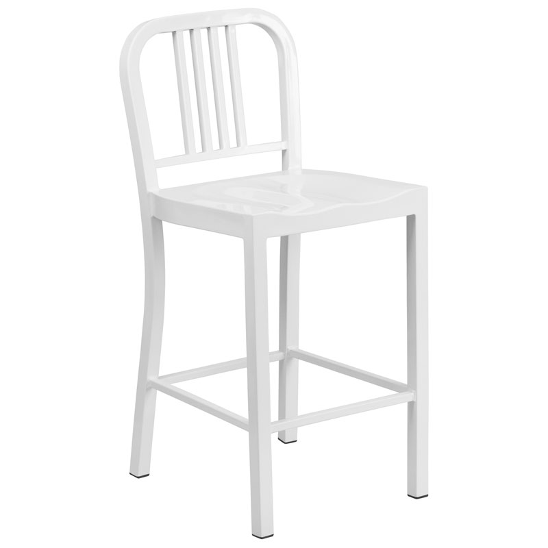 Hartford White Modern Outdoor Counter Stool