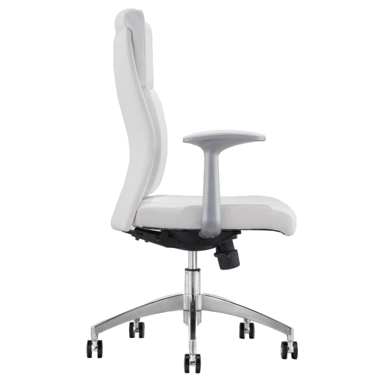 Harvard White Leatherette + Chrome Modern Office Chair
