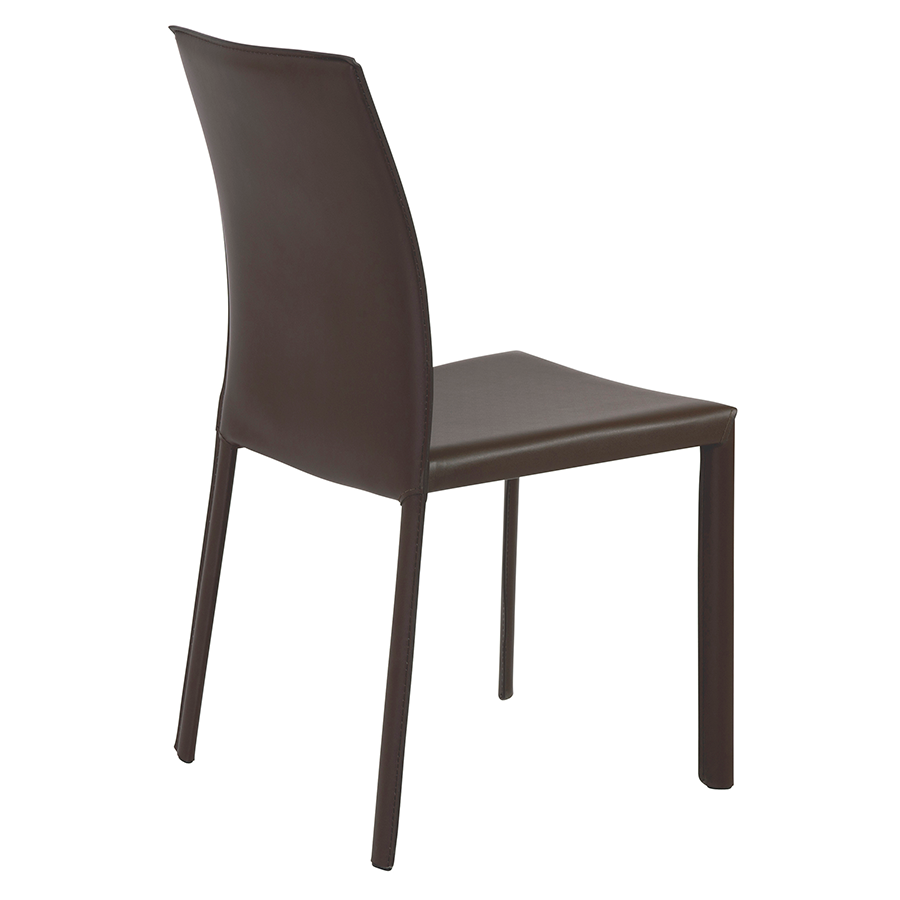 Hasina Brown Leather Contemporary Stacking Chair
