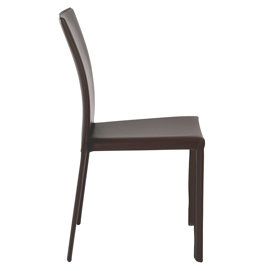 Hasina Brown Leather Modern Stacking Chair