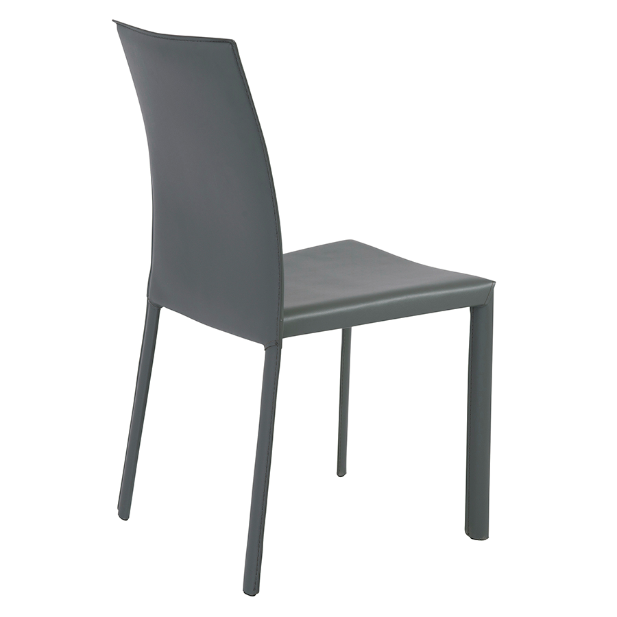 Hasina Gray Leather Contemporary Stacking Chair
