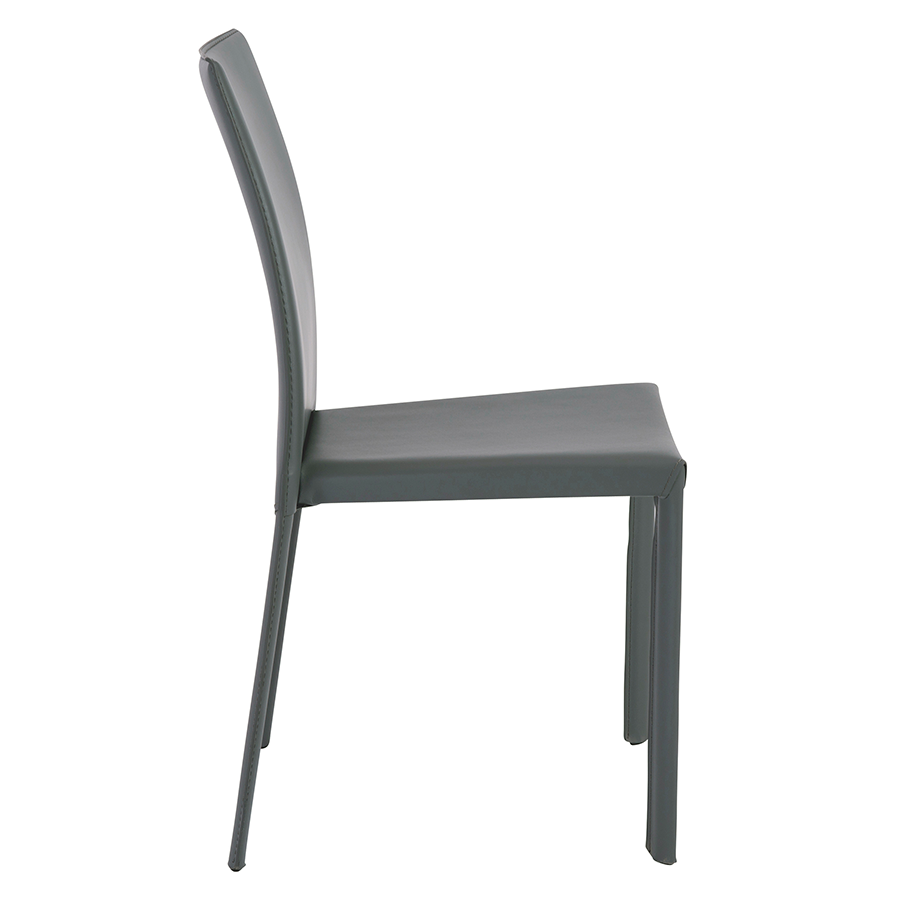 Hasina Gray Leather Modern Stacking Chair