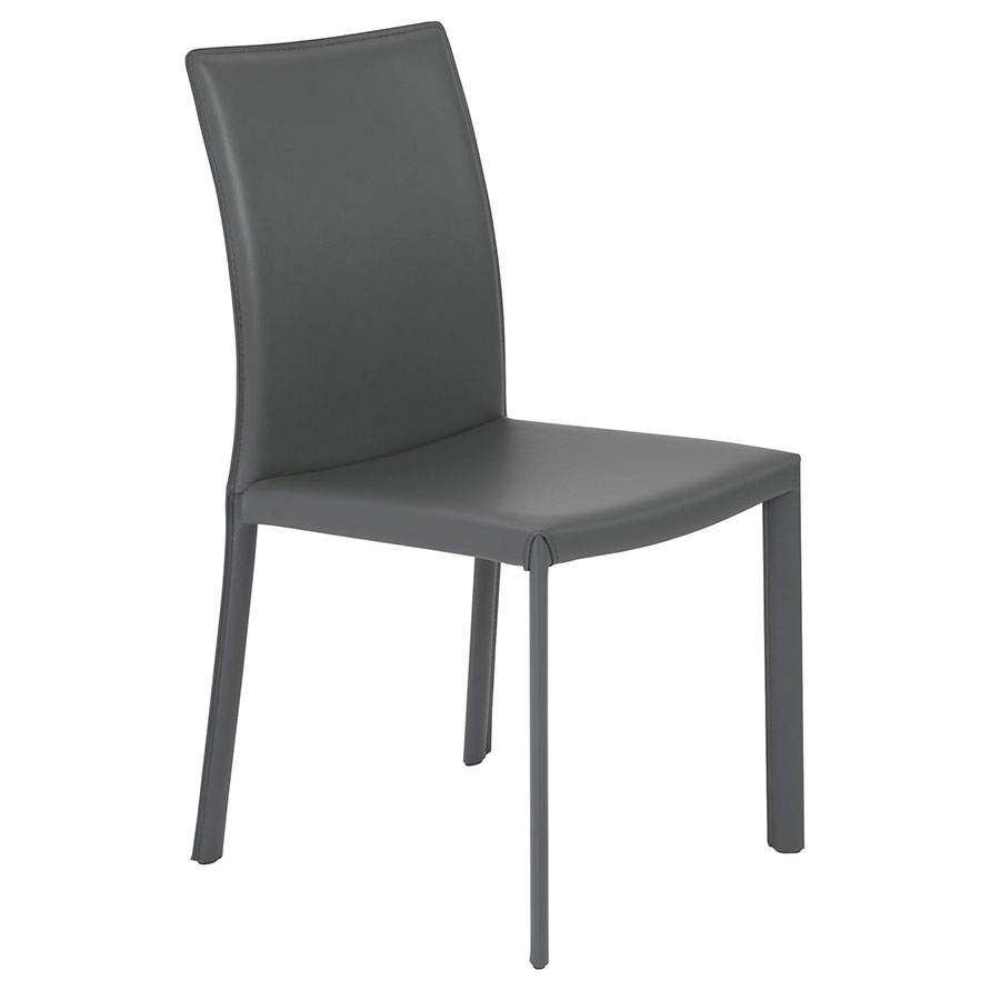 Heather Modern Gray Leather Dining Chair